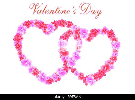 Valentine s Day. Two Heart of pink flowers Sakura, Cherry Blossom. illustration - Stock Image