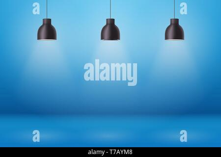 Vintage Metal pendant cone lamps on blue painting wall background. Original Retro design of sample room. Hang ceiling model. Vector illustration - Stock Image