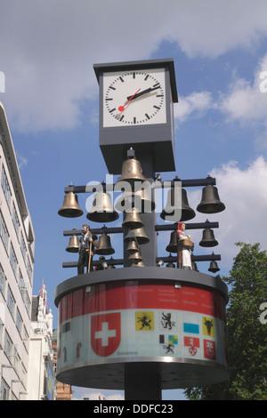 Swiss Glockenspiel clock Leicester Square London - Stock Image