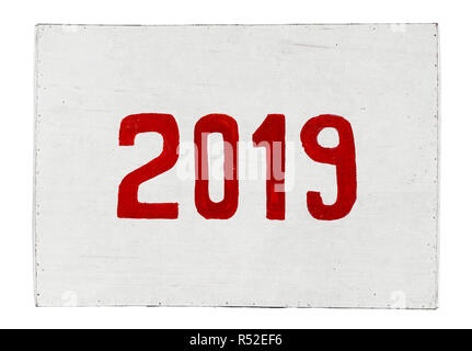 New year 2019 painted on plywood board. Year of the Pig - Stock Image