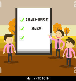 Writing note showing Service Support Advice. Business concept for providing help to others in verbal or action way Business Colleagues Discuss Mission - Stock Image
