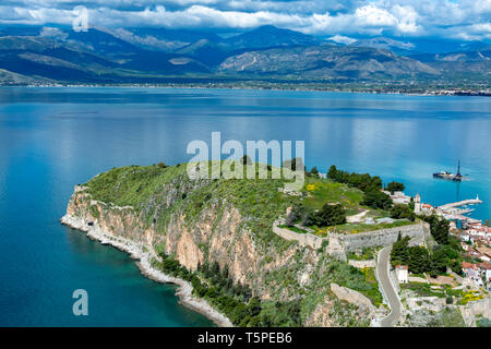 Landscape with view on Nafplio from above, seaport town in the Peloponnese in Greece, capital of  region Argolis, tourist travel and vacation destinat - Stock Image
