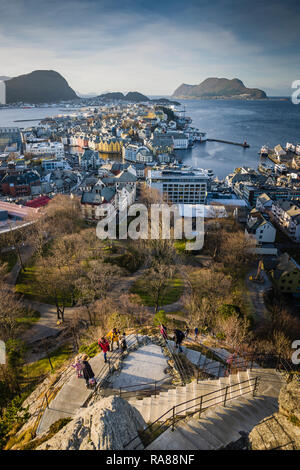 418 step staircase to top of Mount Aksla, Alesund, Norway. - Stock Image