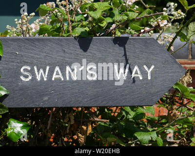 Swans Way Sign, Swans way National Trail, Meets The Ridgeway, South Stoke, Oxfordshire, England, UK, GB. - Stock Image
