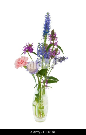 A small glass vase with a simple posy of wild flowers - Stock Image
