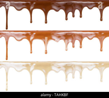 Various melt chocolate set on cake top. Dark, milk and white one are included. - Stock Image