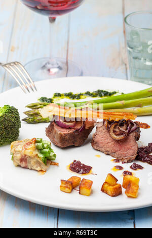Steak With Asparagus - Stock Image