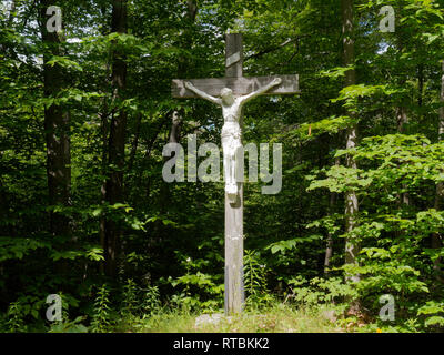 Quebec,Canada. A life size outdoor crucifix. - Stock Image