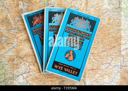 Three Bartholomew's Revised 'Half-Inch' Contoured Maps including sheets number 13, 17 and 23 with a map of the Wye Valley showing. Cloth edition 5 shi - Stock Image