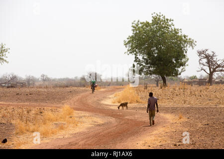 Kourono village, Yako province, Burkina Faso; Moussa Mande's eldest son on the way to the gold mines. He has no education, unlike his younger brothers and sisters. - Stock Image