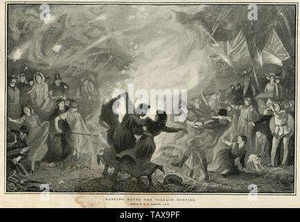 Dancing round the village bonfire, after Robert Walker Macbeth, 1902 - Stock Image