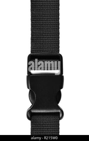 Black side release acculoc buckle plastic clasp, quick nylon belt rope lock strap, isolated macro closeup, large detailed vertical accessory studio sh - Stock Image