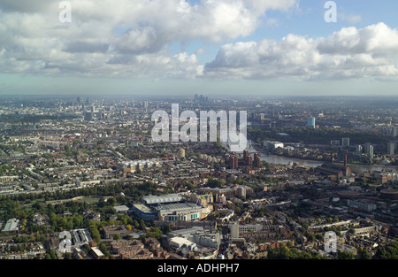 Aerial view of Chelsea in London featuring Chelsea's Stamford Bridge Football Ground, River Thames and views to Central London - Stock Image