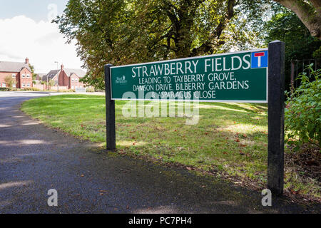 Strawberry Fields street sign on small housing estate in Berkshire. - Stock Image