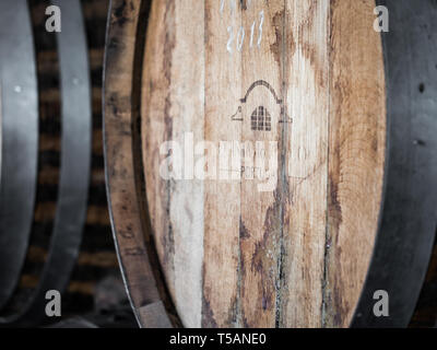 Setubal, Portugal - February 02, 2018: Wooden wine barrels in Quinta do Piloto, Setubal wine region, Portugal. - Stock Image