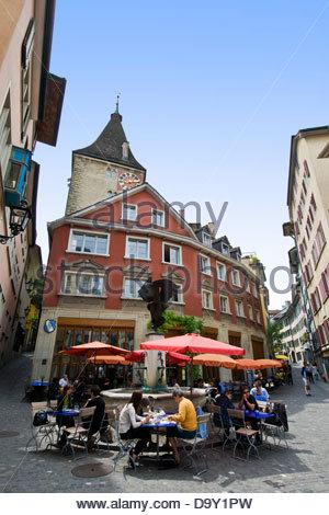 Restaurant in old town,Zurich,Switzerland - Stock Image