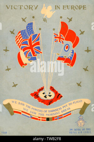 """WW2 - V. E. Day - May 8th 1945 - RAF Victory Celebration Card - """"We saw the powers of darkness put to flight - We saw the morning break"""" - features a personal message from Air Marshal Sir Arthur Coningham (on the reverse), Commander-in-Chief of the 2nd T.A.F.     Date: 1945 - Stock Image"""