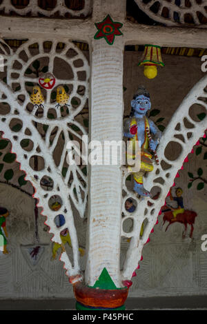 Detail of exhibit of a Rajwar hut from Chhattisgarh in the National Crafts Museum, New Delhi, India - Stock Image