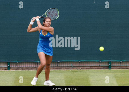 Indian professional tennis player Ankita Raina plays a shot during a qualifying match at the 2018 Nature Valley Classic in Birmingham, UK. - Stock Image