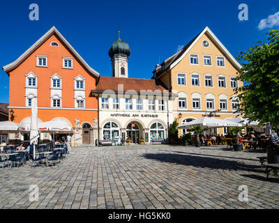 Market place, church, center of Immenstadt, Allgaeu, Bavaria, Germany - Stock Image