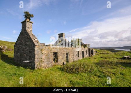 Derelict croft house on the Isle of Lewis - Stock Image