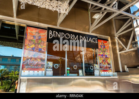 The Benidorm Palace, famous show bar cabaret club in Benidorm, Costa Blanca, Spain with it's distinctive shape and stainless steel finish. - Stock Image