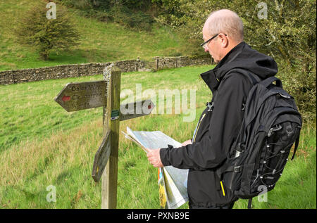 Man looking at a map on the Dales Way near Windermere Cumbria England UK United Kingdom GB Great Britain - Stock Image