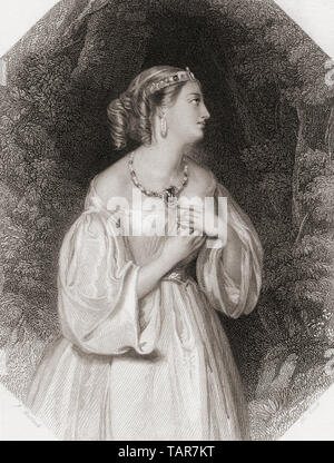 Lavinia.  Principal female character from Shakespeare's play Titus Andronicus.  From Shakespeare Gallery, published c.1840. - Stock Image