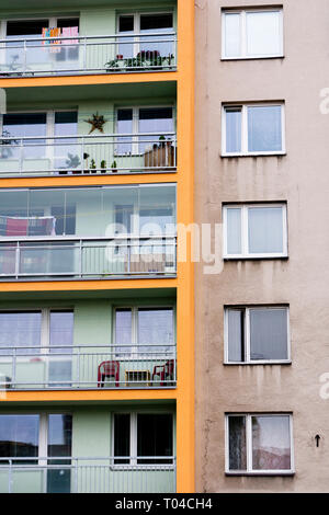 balconies and windows of popular residential building in Czech republic - Stock Image
