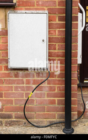 Mock up of what it might look like when Electricity Theft takes place. Two Electric Meter boxes are shown as if - Stock Image