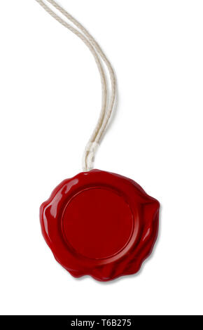 Old red wax seal with thread isolated on white - Stock Image