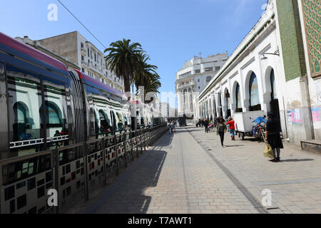 Boulevard Mohammed-V in central Casablanca. - Stock Image