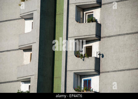 Residential building with camera surveillance in Pyongyang, North Korea, DPRK - Stock Image