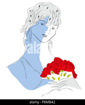 Bride and roses  illustration of beautiful young bride with her wedding dress. - Stock Image