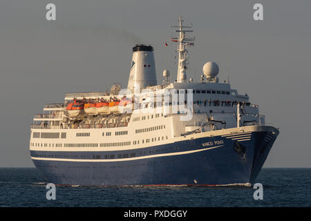 Cruiseship Marco Polo inbound Kiel fjord, bound for Holtenau locks, later Kiel canal - Stock Image