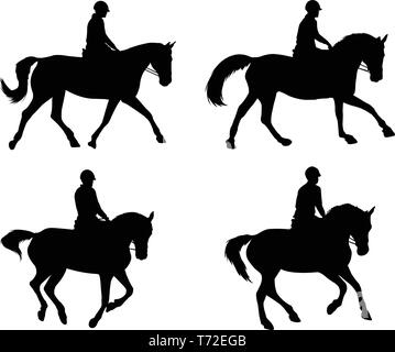 riding horses silhouettes set - vector - Stock Image