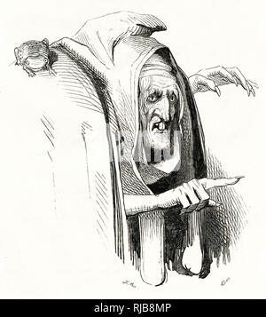 Illustration by Kenny Meadows to The Tempest, by William Shakespeare. Portrait of Sycorax, Caliban's mother. - Stock Image