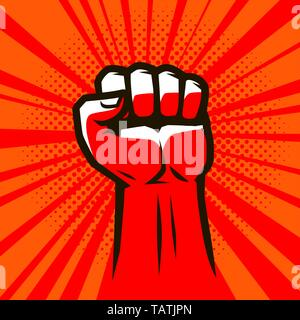 Clenched fist raised up. Strong vector illustration - Stock Image
