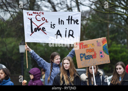 Brighton, UK. 15th Mar, 2019. Thousands of students schoolchildren and parents march through Brighton as they take part in the second Youth Strike 4 Climate protest today as part of a co-ordinated day of global action. Thousands of students and schoolchildren are set to go on strike at 11am today as part of a global youth action protest over climate change Credit: Simon Dack/Alamy Live News - Stock Image