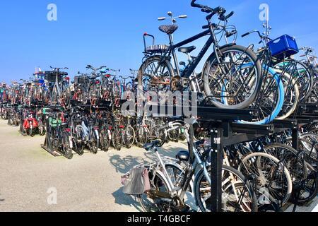 Amsterdam, Netherlands - April 2019; Bike storage at Centraal Station. - Stock Image