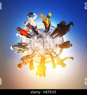 Little planet panorama snowboarders skiers - Stock Image