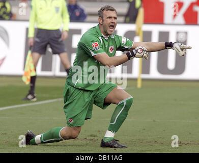Frankfurt goalie Markus Proell gestures during the Bundesliga match 1.FC Nuremberg v Eintracht Frankfurt at easyCredit - Stock Image