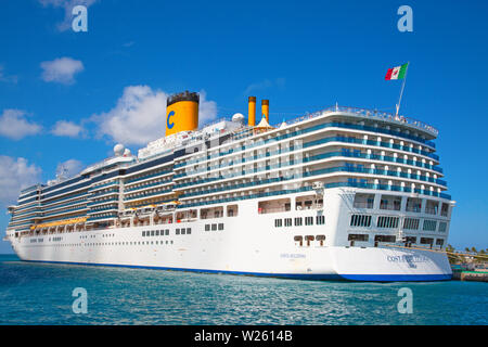 NASSAU - February 12: Costa Deliziosa visiting Nassau on the cruise in Caribbean sea on February 12, 2019 in Nassau, Commonwealth of the Bahamas. Nass - Stock Image