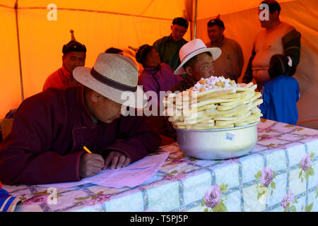 Naadam Festival in Khatgal, Mongolia. The jury for the wrestling competition - Stock Image