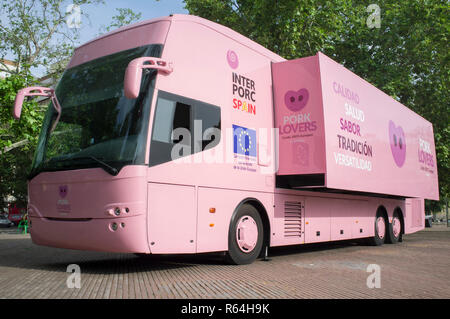 Badajoz, Spain - May 23th, 2018: Pork Lovers Tour Bus parked in the city. Interporc organization media campaign - Stock Image