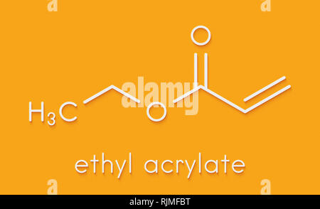 Ethyl acrylate molecule. Skeletal formula. - Stock Image