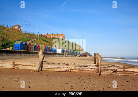 A view along the beach at the North Norfolk village resort of Mundesley, Norfolk, England, United Kingdom, Europe. - Stock Image