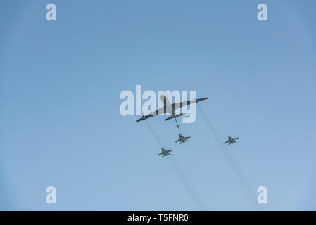 Israel, Tel Aviv-Yafo - 19 April 2018: Celebration of the 70th independence day of Israel - Yom haatzmaout - airshow of of the Israeli air force - Loc - Stock Image