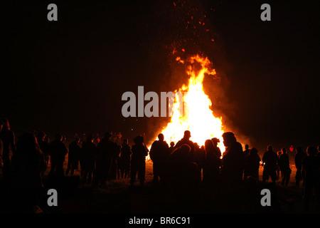 Large bonfire at FarmJammaLamma music festival, Brookville, PA, USA - Stock Image