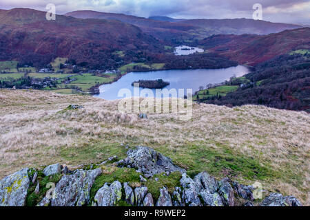 Grasmere and Rydal Water seen from the summit of Silver How, near Grasmere, Lake District, Cumbria - Stock Image